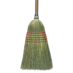 "Corn Broom, 56"", Lacquered Wood Handle, Natural -"