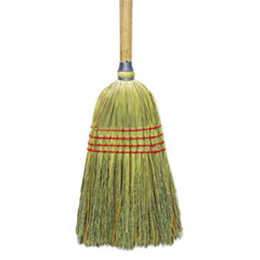 "Upright Corn/Fiber Broom, 56"", Lacquered Wood Handle,"
